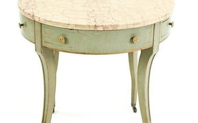 ITALIAN PAINTED STONE-TOP SIDE TABLE