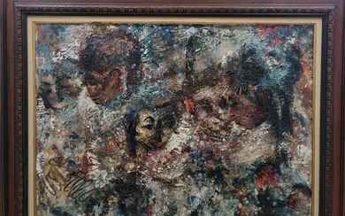 Interesting Oil Impressionist Painting With Faces