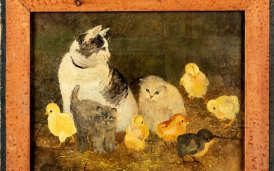 Jeanne Davies oil on canvas of cats and chicks