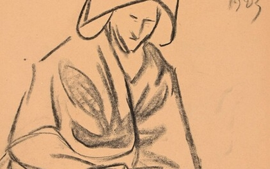 """Jeanne MALIVEL (1893-1926) """"Woman of St Brieuc"""" charcoal mbd dated 1923 31x24"""