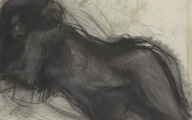 John Epstein, British 1937-1997 - Reclining Female Nude, 1973; charcoal on paper, signed and dated lower right 'John Epstein 1973', 55 x 74 cm (ARR)