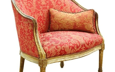 Louis XVI Style Giltwood Fauteuil Chair