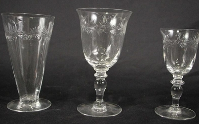 MIXED LOT OF 26 PIECES OF CUT GLASSWARE