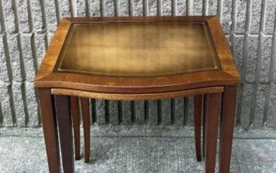 Mid C Cross Banded Leather Top Nesting Tables