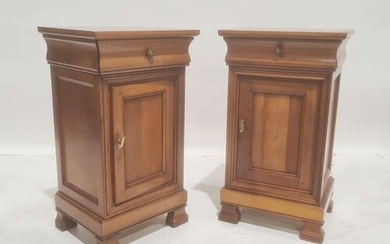 Modern cherrywood pair of bedside chests with single drawers...