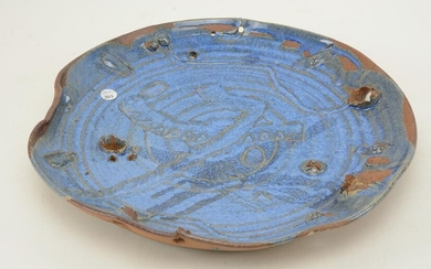 Modern studio art pottery charger with blue glaze and