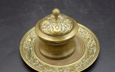 Nicely decorated vintage bronze or brass ink well