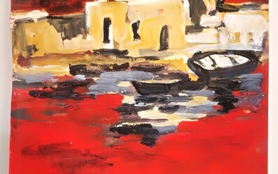 Oil painting on red paper, high quality heavy oil, high quality painting, without frame signed, Israeli artist signed in Hebrew, unknown artist. Dimensions 50 * 35 cm approximately