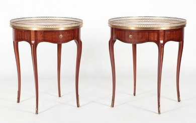 PAIR FRENCH MARBLE TOP BRONZE MOUNTED TABLES 1950