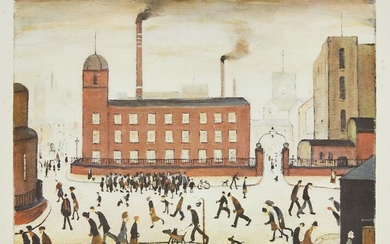 PROPERTY FROM THE ESTATES OF L.S. LOWRY AND THE LATE CAROL ANN LOWRY Laurence Stephen Lowry RBA RA, British 1887-1976- Mill Scene; offset lithograph in colours on wove, signed in pencil, from the edition of 750, published by The Sunday Observer...