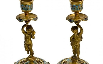 Pair French Champleve Enamel Bronze Candlesticks 19th C