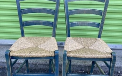 Pair French Country Ladder Back Dining Chairs