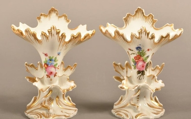 Pair of 19th Century Hand Painted Porcelain Vases.