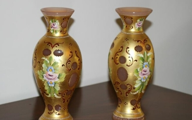 Pair of Hand Decorated and Gilded Murano Glass Vases