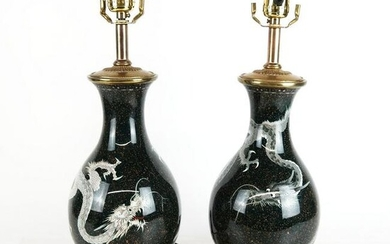 Pair of Japanese Silver Wire Vases as Lamps