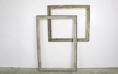 Pair of Large Farmhouse Gray Wooden Picture Frames