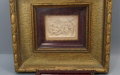 Pair of Old Framed Plaques of Group Scenes