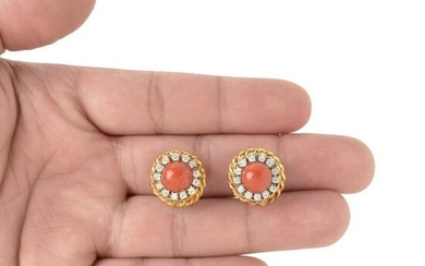 Red Coral, Diamond and 18K Earrings