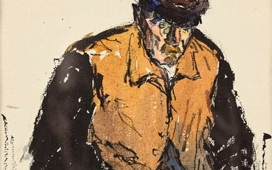 """Robert Louis ANTRAL (1895-1939) """"The fisher man with a beret"""" watercolour and ink sbg 16.5x16"""