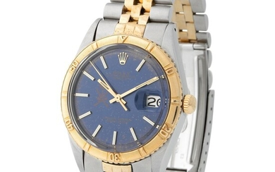Rolex. Striking and Valuable Datejust Automatic Wristwatch in Steel and Gold, Reference 1625, Blue Khanjar Dial, Made for the Sultanate of Oman