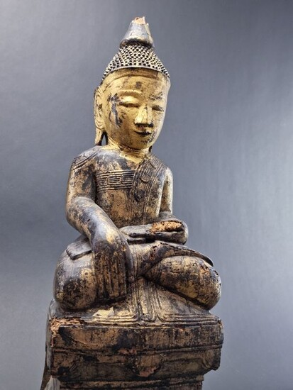 Sculpture (1) - Gold, Lacquer, Wood - Burma - Shan - late 17th c.