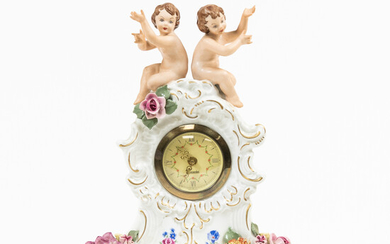 Small Dresden Porcelain Mantel Clock with Putti