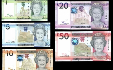 States of Jersey, a set of replacements from 2010 issue, including £1, £5, £10, £20 and £50, (B...