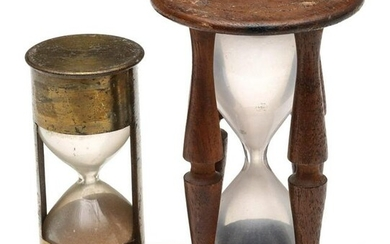 TWO 19TH C. MARINE SANDGLASS TIMEPIECES BRASS AND WOOD