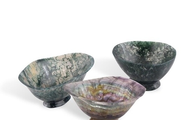 TWO FLUORITE AND ONE AGATE BOWLS