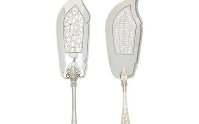 Two Rose pattern silver fish servers