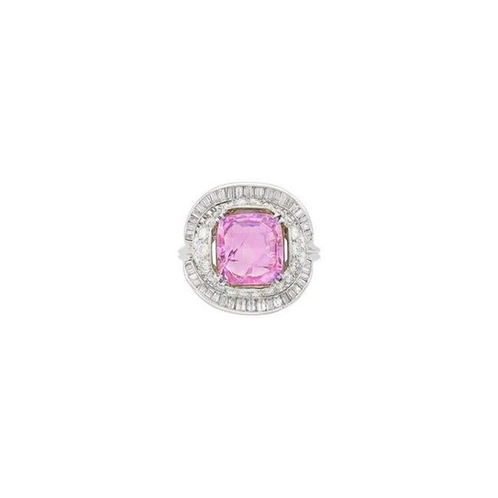 White Gold, Pink Sapphire and Diamond Ring