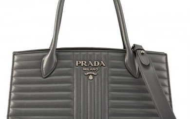 Prada Gray Diagramme Quilted Soft Calfskin Leath