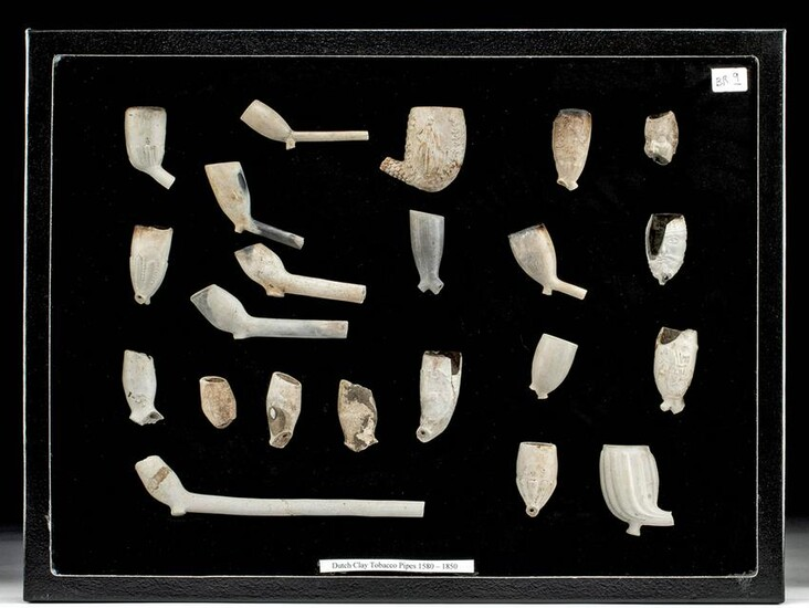 22 Late 16th C. Dutch Clay Tobacco Pipe Fragments