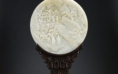 A CHINESE CARVED JADE ROUND TABLE SCREEN