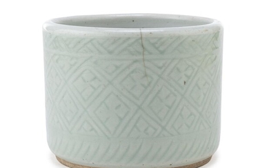 A CHINESE CELADON VASE 19TH CENTURY. DEFECTS.