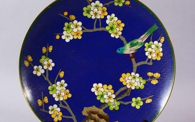 A CHINESE CLOISONNE PLATE & STAND - the dish with a