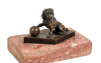 A FRENCH BRONZE MODEL OF A SEATED HOUND, mid 19th century, i...