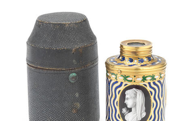 A George III gold and enamelled single draw spy glass