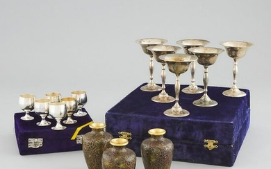 A Group of Three Miniature Cloisonné Vases, Together