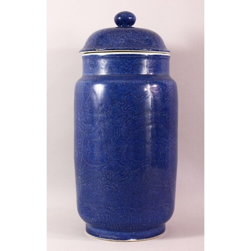 A LARGE CHINESE POWDER BLUE PORCELAIN JAR & COVER - with inc...