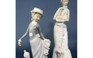 A Lladro figure of a young girl holding a parasol and with h...