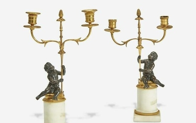 A Louis XVI Style Gilt and Patinated Bronze Candelabra
