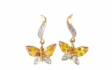 A PAIR OF GEM SET AND DIAMOND EARRINGS, modelled as butterfl...