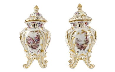 A PAIR OF LATE 19TH CENTURY HÖCHST PORCELAIN VASES AND COVERS
