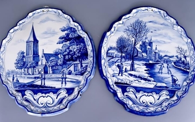 A Pair of Delft Blue and White Plaques, 19th...