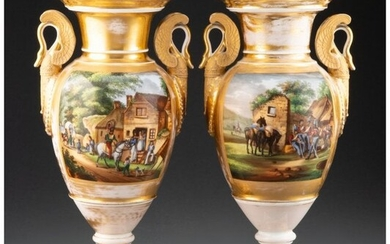 A Pair of French Painted and Partial Gilt Porcel