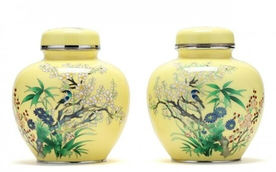 A Pair of Japanese Yellow Ground Cloisonne Jars with