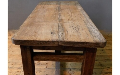 A SOLID PINE PLANK TOP WORK BENCH / RUSTIC TABLE ON WIDE SQU...