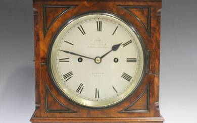 A Victorian burr walnut bracket clock with eight day twin fusee movement striking hours and half hou