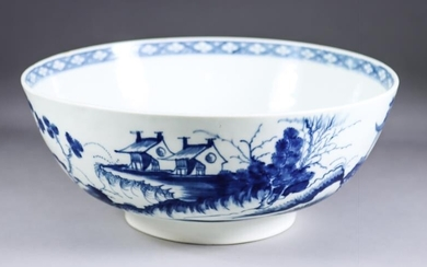 A Worcester Blue and White Porcelain Bowl, Circa 1768,...